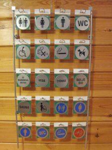 Myyntiteline seinälle - opastekyltit, -numerot ja -kirjaimet